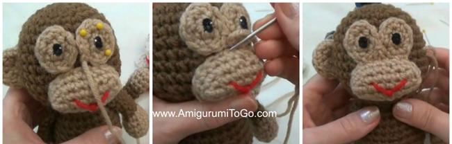 вышиваем мордочку вязаной обезьянке