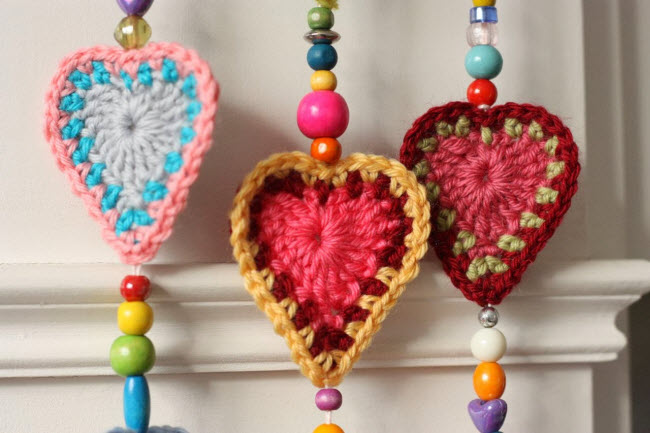 вязаное сердечко крючком схема