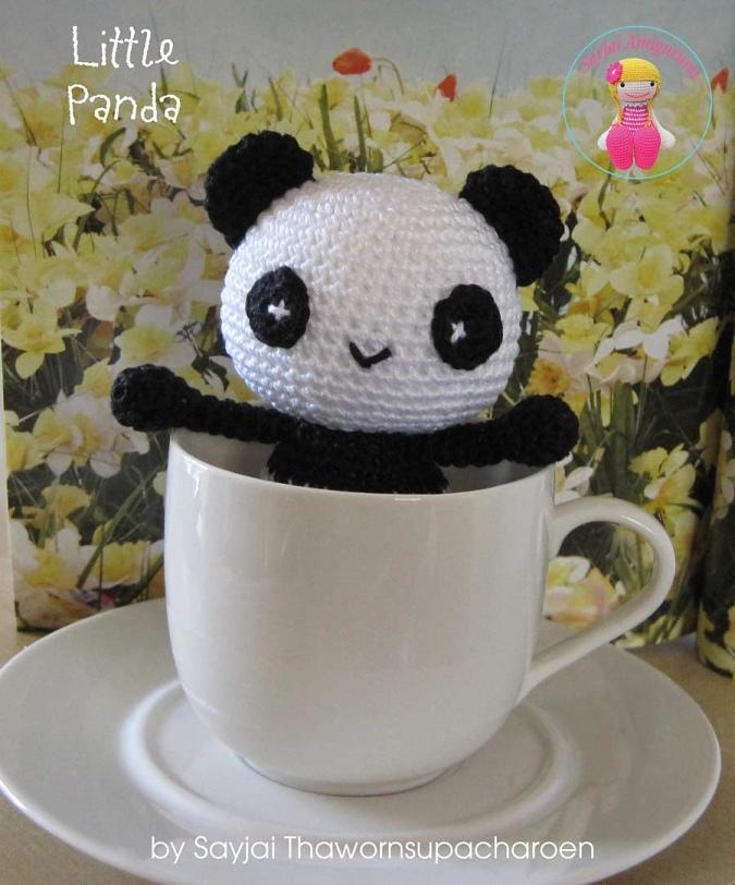 вязаная игрушка панда амигуруми крючком