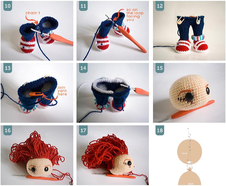 вязание кукол амигуруми крючком схема