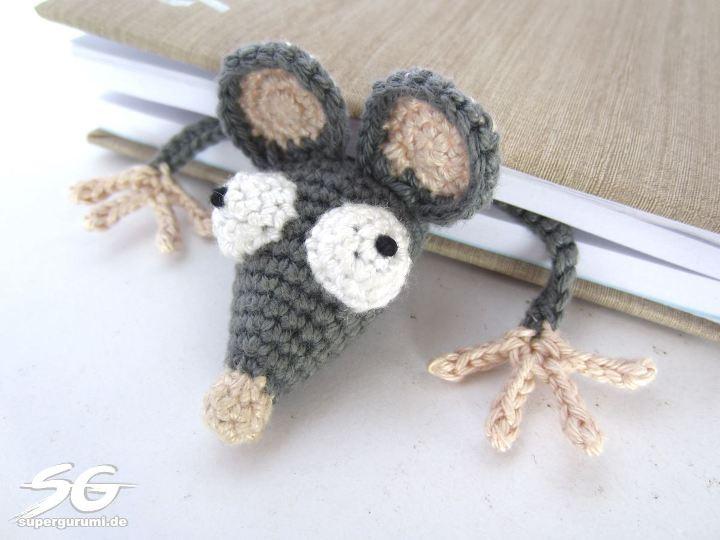 Вязание закладки мышки крючком