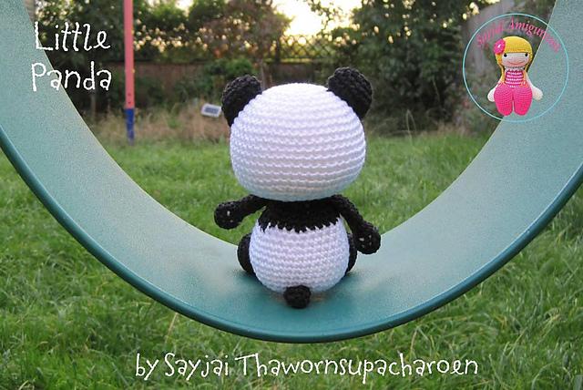 игрушка панда связанная крючком описание