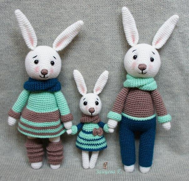 семья зайцев амигуруми крючком