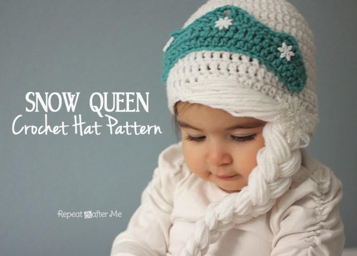 шапочка снежная королева крючком схема