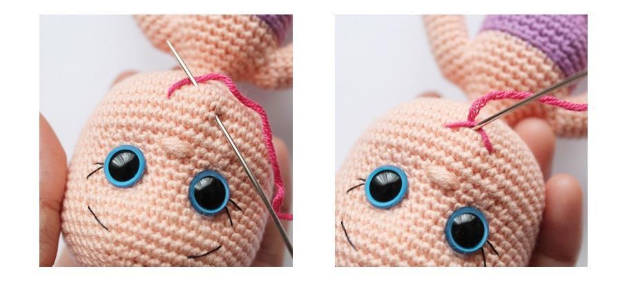 Вышиваем рот для вязаной каркасной куклы