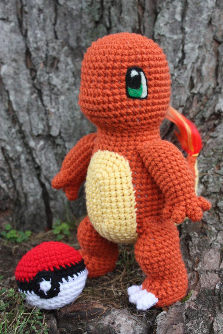 Покемон чармандер схема вязаной игрушки амигуруми крючком