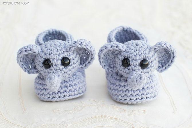 Пинетки слоники для новорожденного крючком схема