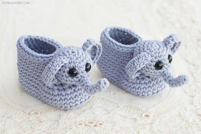 Пинетки слоники для новорожденного крючком