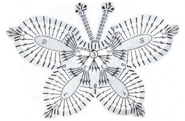 Бабочку схема крючком