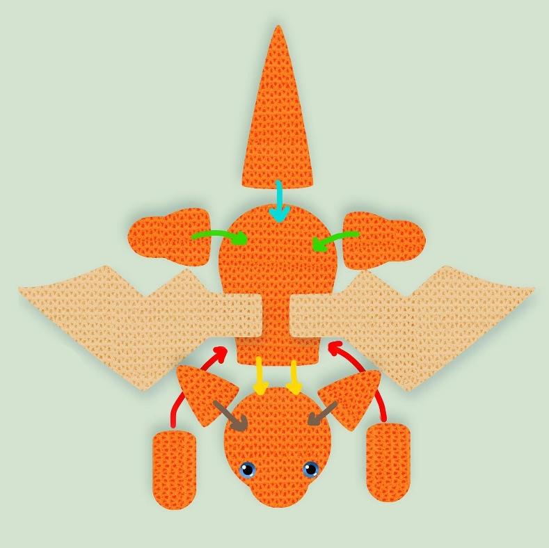 Малыш дракон крючком: схема вязания