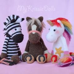 три игрушки по одной схеме вязания лошадка зебра единорог