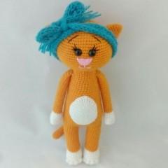 вязание игрушек крючком кошка модница