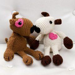 вязание игрушек крючком влюбленные щенки