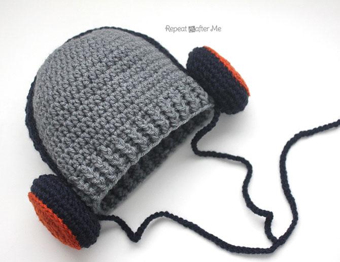 вязаная шапка крючком для мальчика