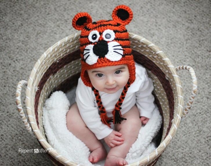Вязаная шапочка крючком: схема тигренка, мк
