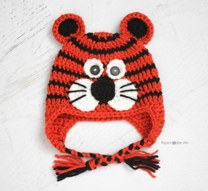 Вязаная шапочка крючком: схема тигренка