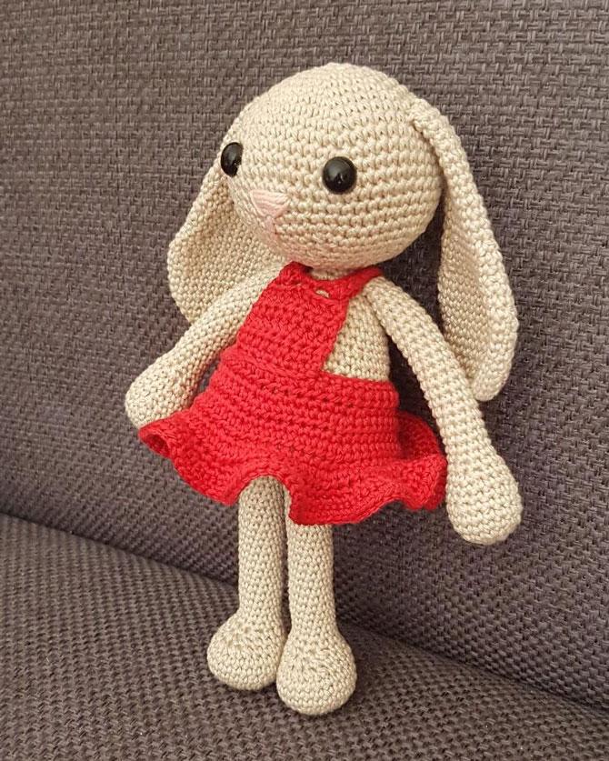 Амигуруми зайка в платье схема вязаной игрушки крючком