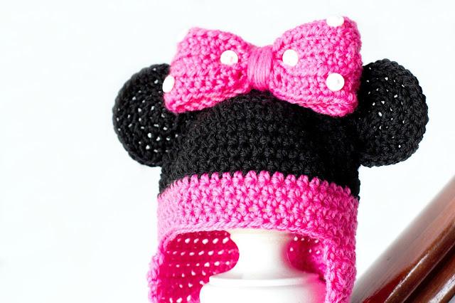 Вязание крючком детская шапка Минни Маус схема описание