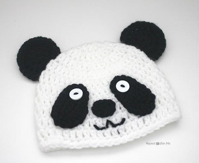 Детская вязаная шапочка панда схема вязания крючком описание