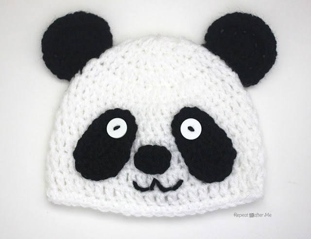 Детская вязаная шапочка панда схема вязания крючком