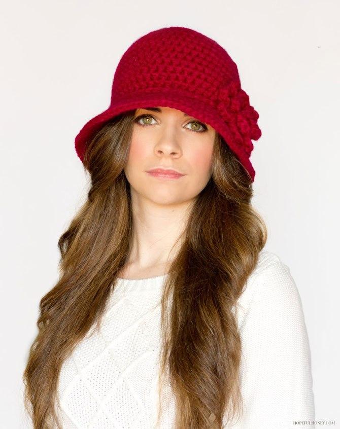 Вязаная дамская шляпа крючком схема