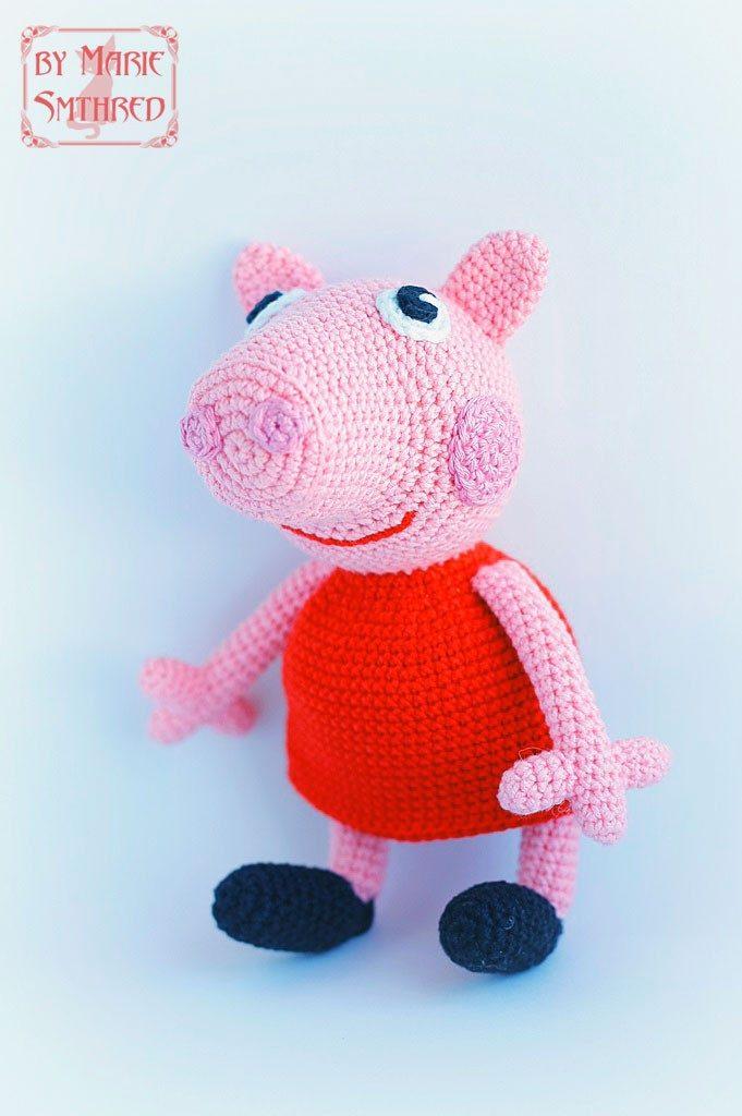 Вязаная игрушка свинка Пеппа крючком схема описание