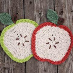 вязание крючком схемы прихватки яблоко