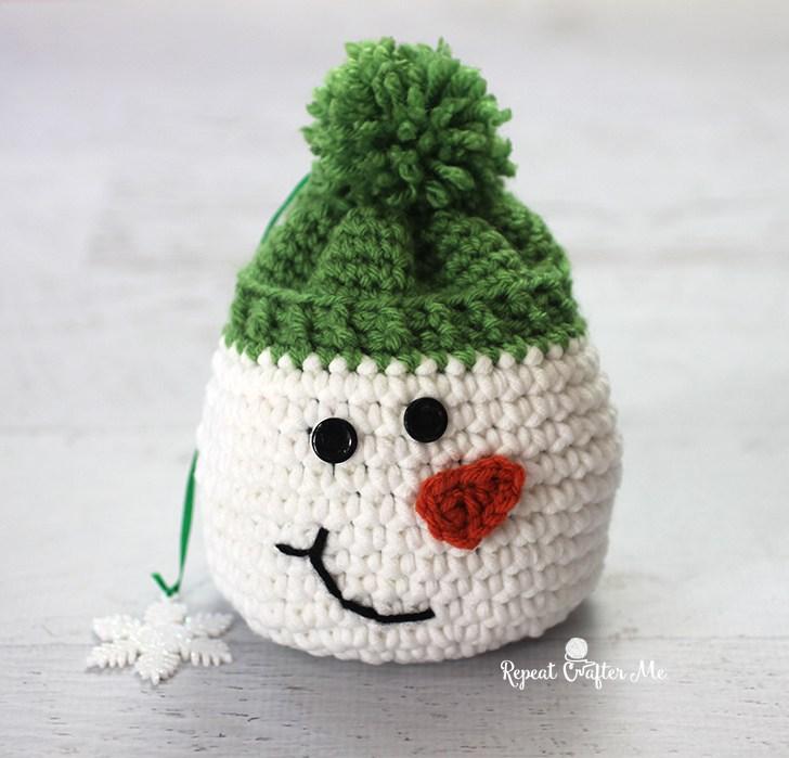 Мешочек-снеговик крючком: схема вязания