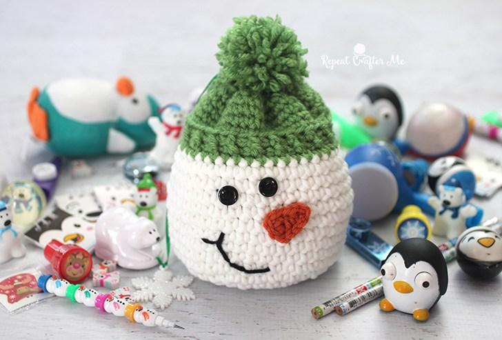 Мешочек снеговик крючком: схема вязания