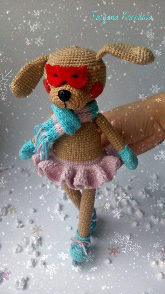 Амигуруми собачка на коньках схема вязания крючком описание