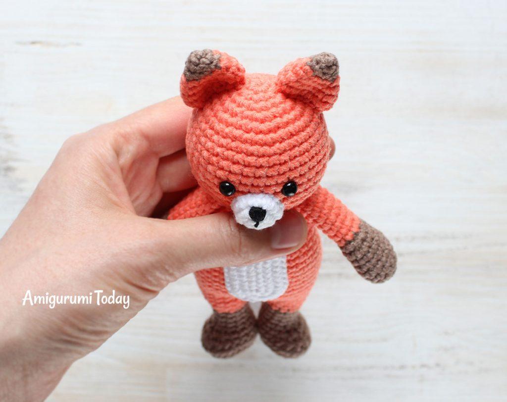 Лисенок-обнимашка - схема вязания игрушки амигуруми крючком