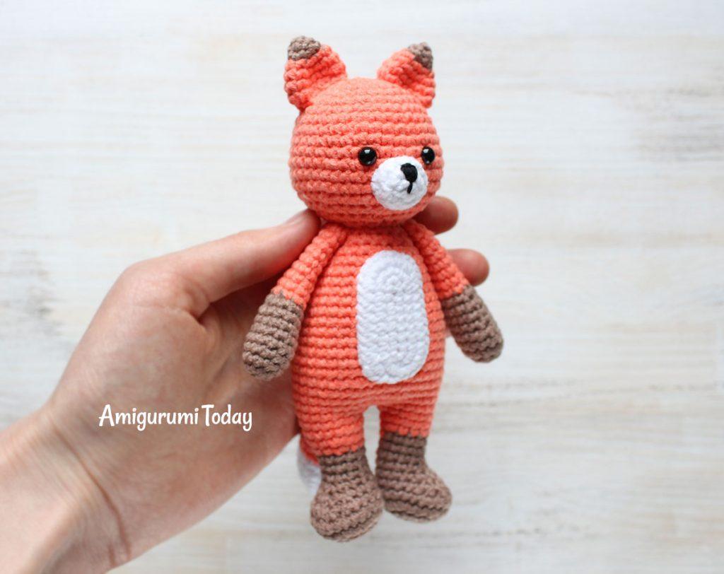 Лисенок-обнимашка - схема вязаной игрушки амигуруми