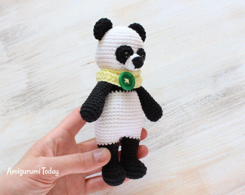 Панда-обнимашка - схема вязания амигуруми игрушки крючком