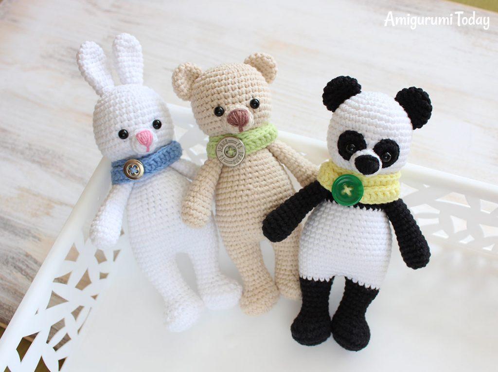 Панда-обнимашка - схема вязания амигуруми